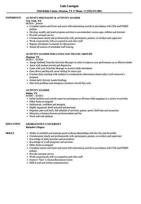 activity leader resume sles velvet