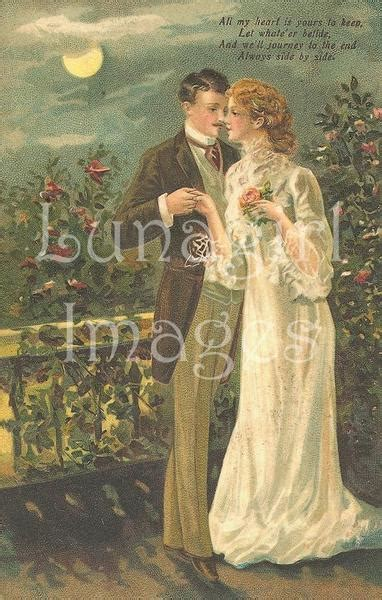 vintage  cards art  victorian couples weddings