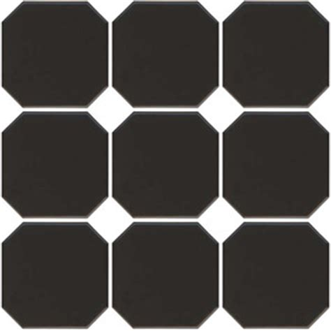retro glazed porcelain octagon tile black matte