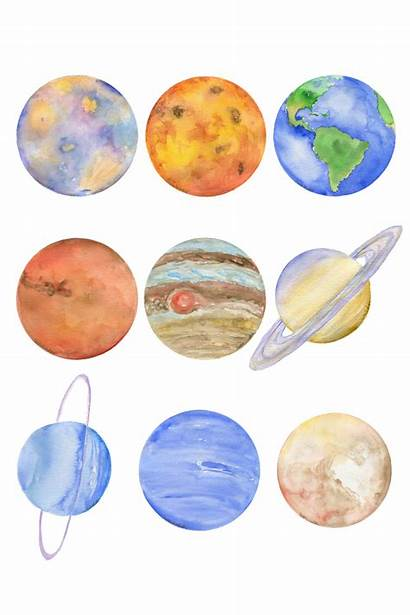 Solar System Planets Watercolor Planet Painting Society6