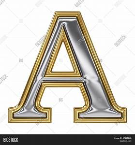 metal silver and gold alphabet letter symbol a stock With large gold metal letters