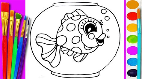draw gold fish coloring page cute fishes  kids