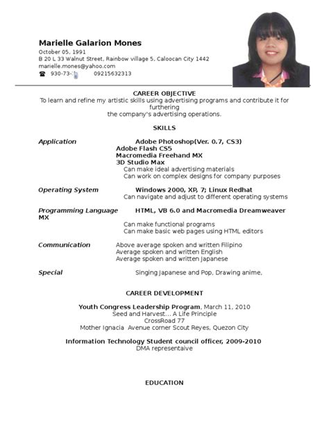 Resume Format For Ojt by Resume Format Ojt