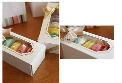 15.5*6.5*5cm White Macaron Boxes With Window Kraft Cake