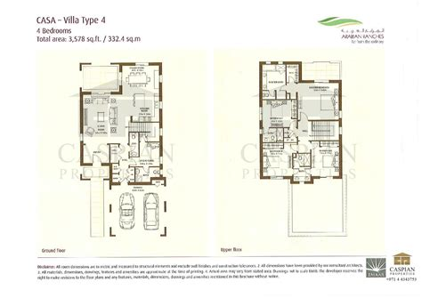 Types Of Floor Plans by Arabian Ranches Casa Floor Plans