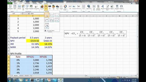 capital budgeting spreadsheet youtube