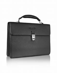 Piquadro Modus - Black Leather Laptop Briefcase in Black ...