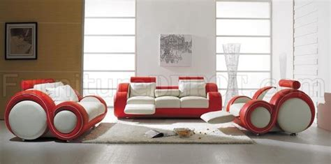 piece stylish modern leather living room set  red