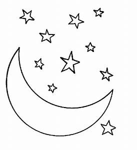 Moon And Stars Black And White Clipart