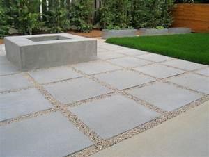 jardin moderne avec du gravier decoratif galets et With dalle en beton exterieur