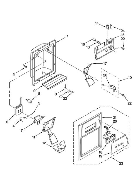 dispenser front parts diagram parts list for ed5lvaxvq00 whirlpool parts refrigerator