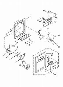 Dispenser Front Parts Diagram  U0026 Parts List For Model Ed5lvaxvq00 Whirlpool