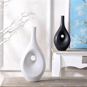 Design Vase : tabletop flower vase home decor contemporary black white ~ Pilothousefishingboats.com Haus und Dekorationen