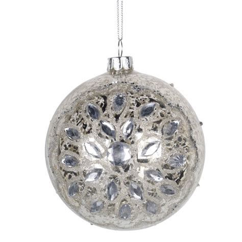 antique silver glass bauble hanging decoration cm
