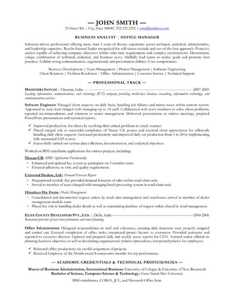Business Analyst Resumes Sles by Business Analyst Resume Template Premium Resume Sles Exle