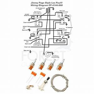 Wiring Kit For Gibson U00ae Les Paul U00ae Guitar Jimmy Page Switchcraft Cts Push  Pull Orange Drop