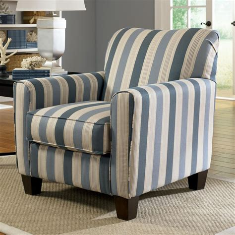 blue stripe accent chair with exposed wood