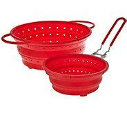 cooks essentials set   collapsible silicone strainers  strainers kitchen gadgets