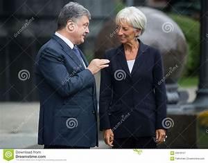 Petro Poroshenko Och Christine Lagarde Redaktionell