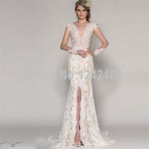 Mermaid v neck long sleeve lace mermaid wedding dress sexy for Wedding dresses with slits