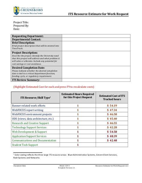 resource estimate  work request