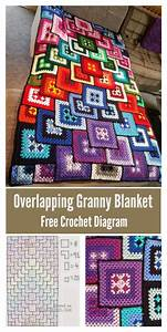 Amazing Overlapping Granny Blanket Free Crochet Diagram