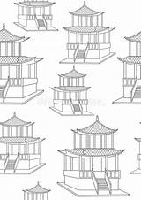 Coloring Gazebo Japan Colorless Offline Seamless Asian Architecture Outline sketch template
