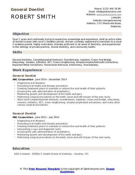 General Resume Format by General Dentist Resume Sles Qwikresume