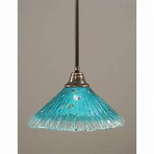 Toltec lighting black copper one light pendant with teal