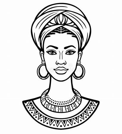 African Woman Drawing Sketch Vector Young Dessin