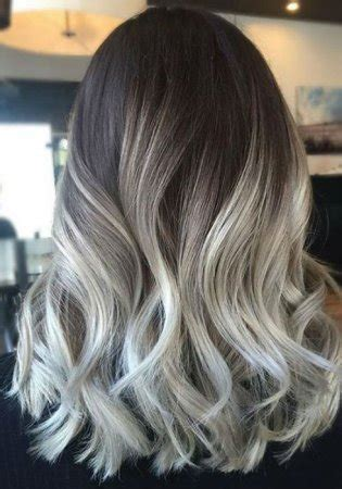ash blonde balayage  silver ombre hair color ideas