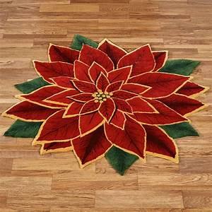 Elegant Poinsettia Shaped Holiday Rugs