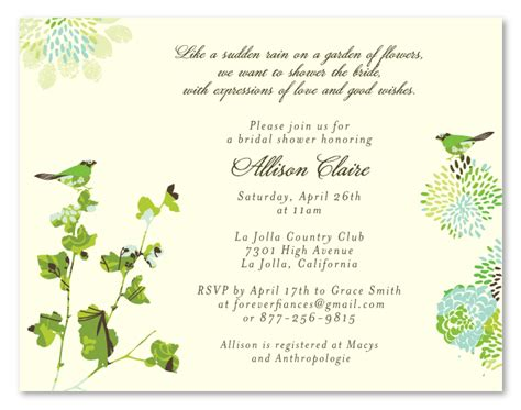 garden theme bridal shower invitations nature s by