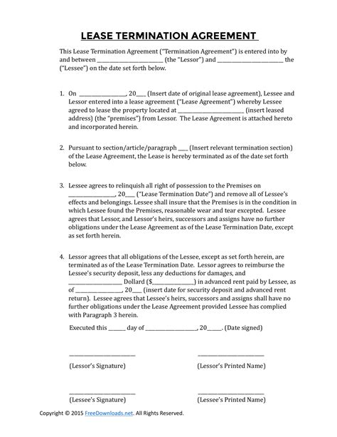 early residential lease termination agreement