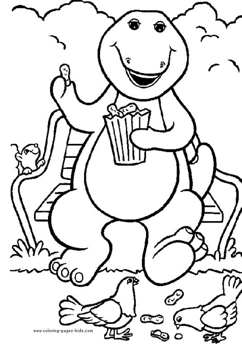 barney color page coloring pages  kids cartoon characters coloring pages printable