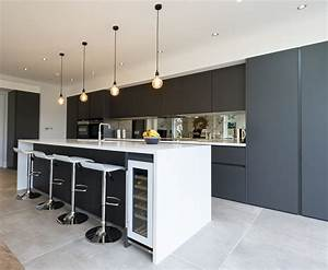 Modern, Handleless, Kitchen, In, Carbon, Grey, Colour, From, Leicht, In, Kew