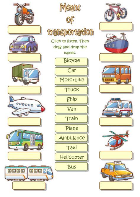 means of transportation interactive worksheet