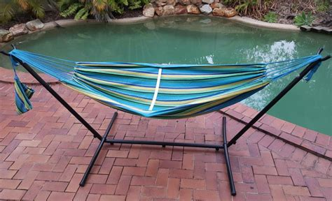 free standing hammock free standing teal blue canvas hammock with fixed stand ebay