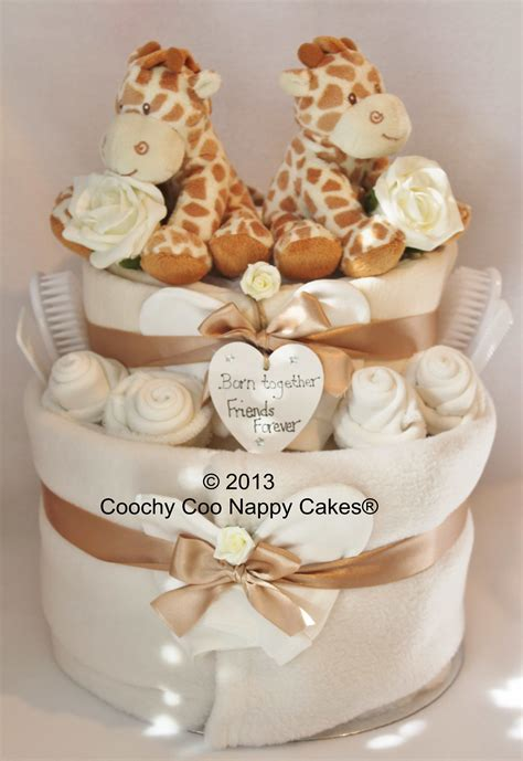 unisex nappy cake baby gift  twins  coochy  nappy