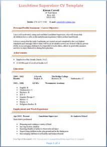 school lunch resume recreation supervisor cover letter sle