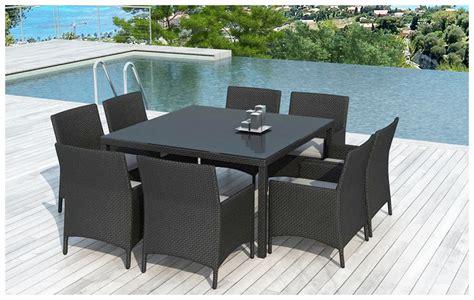 table et fauteuil de jardin en resine tressee table et chaises d ext 233 rieur en r 233 sine 8 places jardin center fr