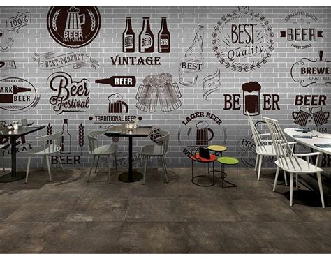 gray cement black white brick wall retro wallpaper bar