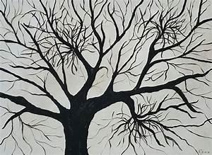 Peinture En Noir Et Blanc : arbre de vie peinture l 39 huile originale peinture en noir et blanc arbre de peinture d 39 art de ~ Melissatoandfro.com Idées de Décoration