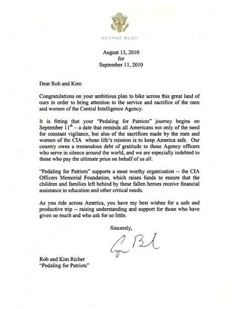 letter to the president two former presidents send letters of support pedaling