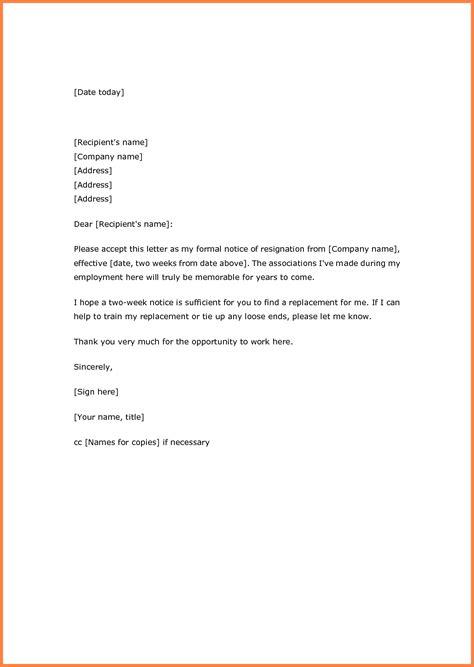 sample  weeks notice  employer notice letter