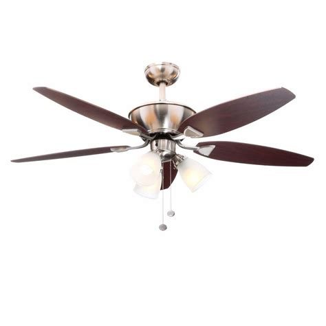 home depot 52 inch ceiling fans hton bay carrolton 52 in indoor brushed nickel ceiling