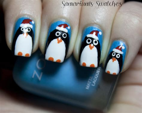 Festive Holiday Penguin Nail Art By Samariumsswatches On