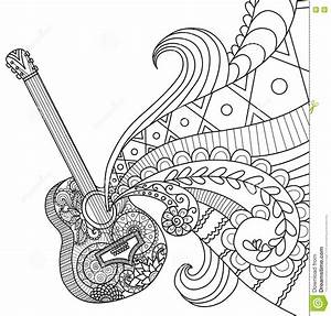 Doodles Design Of Guitar For Coloring Book For Adult Stock Vector Illustration Of Festival
