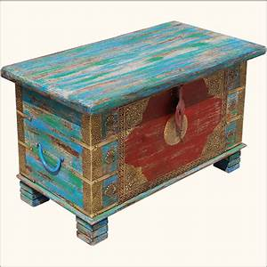 multi color hand painted brass inlay iron wood storage With painted trunk coffee table