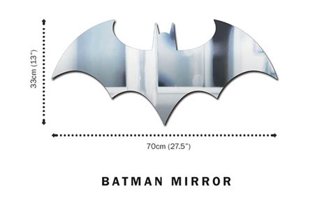 batman logo shaped mirror gives badass makeover to any cave